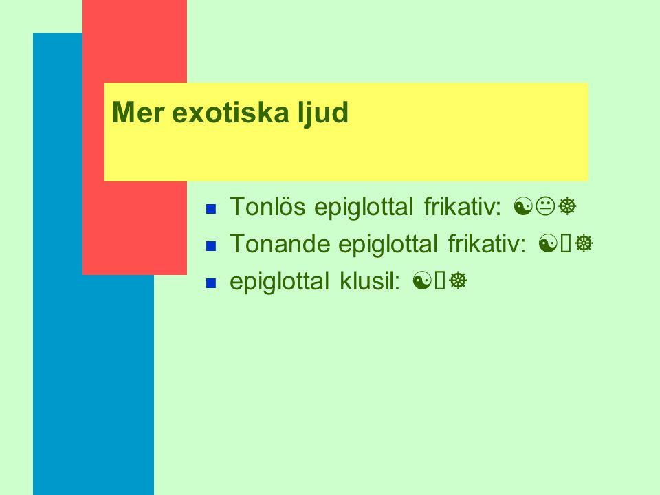 Mer exotiska ljud Tonlös epiglottal frikativ: [K]